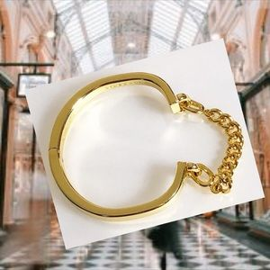 Giles & Brothers polished gold cuff w chain